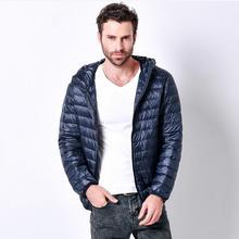 3XL Плюс Размер Продвижение Скидка 90% белая утка пуховик с капюшоном куртка 2016 зима новый мужской легкий сплошной цвет casua вниз w827