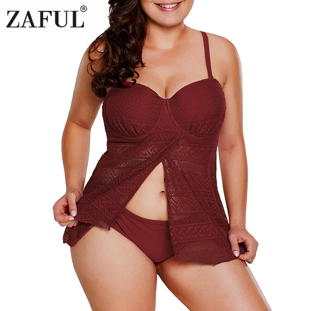 b1f004e4d1 ZAFUL Swimwear Women Plus Size Front Slit Openwork Lace Tankini Set 2018  Beach Wear Bathing Suits Large Size Tankini Swimsuit