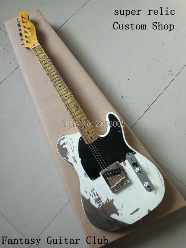 Custom shop, travaux manuels Jim Racine signature classique blanc tele Guitare électrique, Jeff Beck Esq électrique Guitare, super relique, SRV, Slash