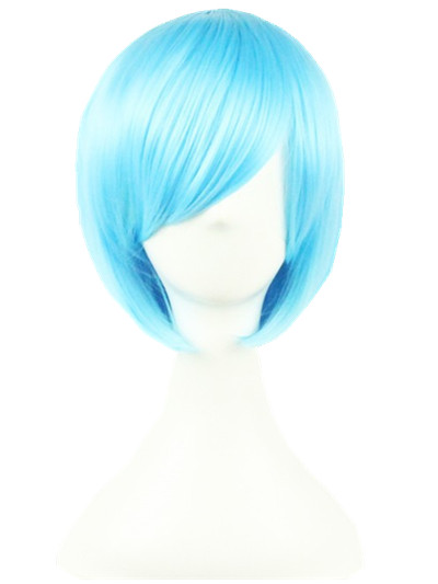 Cosplay Wig Fei-show Synthetic Heat Resistant Fiber Wavy Sky Blue Inclined Bangs Hair Student Hairpiece Short Salon Party Peruca Synthetic Wigs Synthetic None-lacewigs
