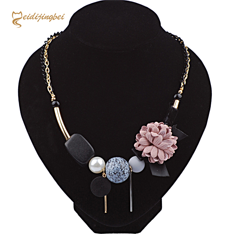 MEIDIJINGBEI 2017 women summer popular exquisite necklace fabric flowers wooden geometric necklace a generation to buy