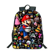 Super Mario plecak popularny wzór szkolny plecak dzieci chłopcy dziewczęta codzienny plecak plecak dla studentów prezent tanie tanio CIBO NYLON Miękki uchwyt Unisex Tłoczenie Miękka printing Łukowaty pasek na ramię Na co dzień Super Mario 16 inch backpack