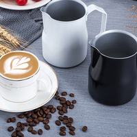 Coffee Pull Cup Stainless Steel Flower Cylinder Tip Mouth Oblique Milk Bubble Pot Pitcher Frothing Jug Coffeeware Cappuccino