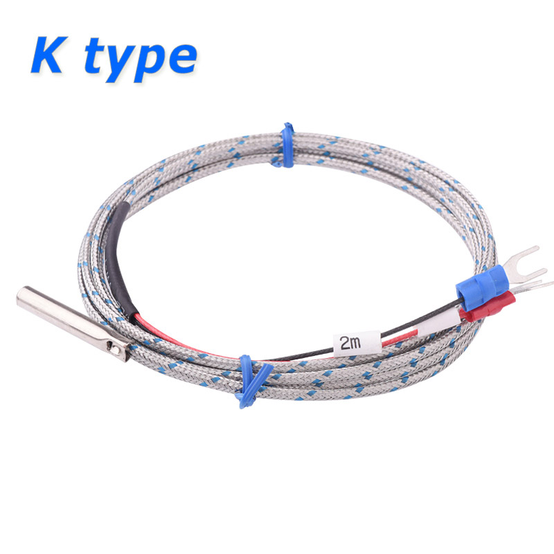 Probe Type Thermocouple K Temperature Sensor 2m Cable Wire 0~500'C for Measuring Boiler Oven Temperature Controller цена
