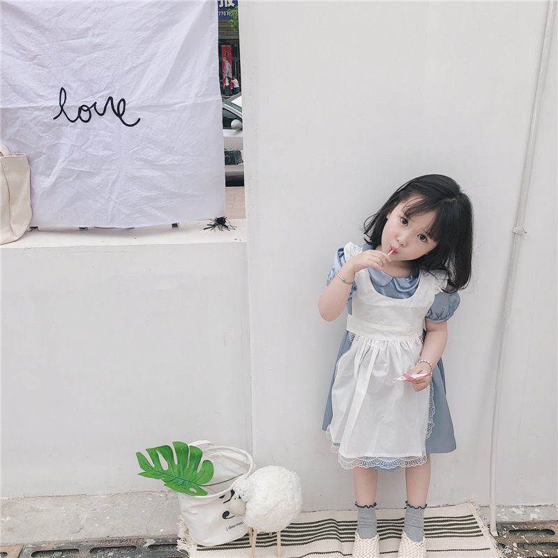 2018 baby girl children Peter pan collar costume princess girls dress up costumes Party Vestidos blue dress+apron Kids Dresses