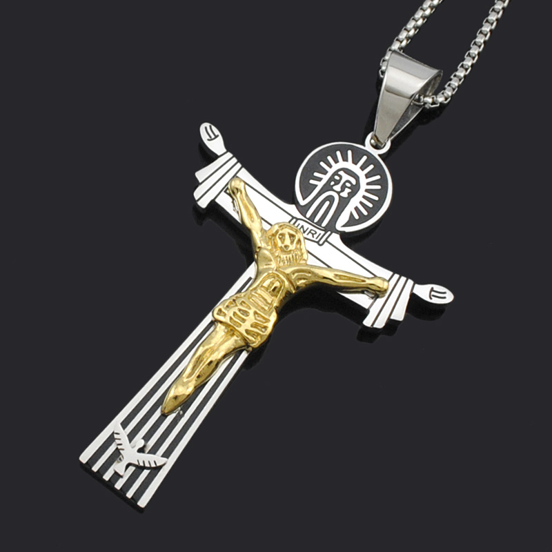 ATGO Classic Double Layer Jesus Stainless Steel <font><b>Cross</b></font> Pendant Charm Religious Suspension Jewelry Men Women BP1982