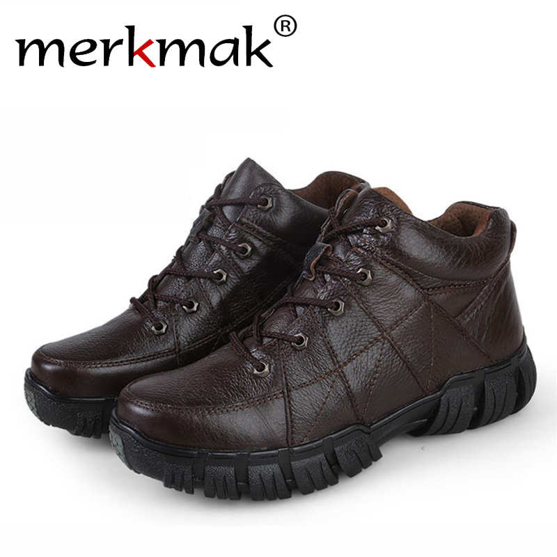 Merkmak Genuine Leather Men Boots 2016 Autumn Winter Fashion Ankle Climbing Army Boots Outdoor Waterproof Boots Zapatos Hombres