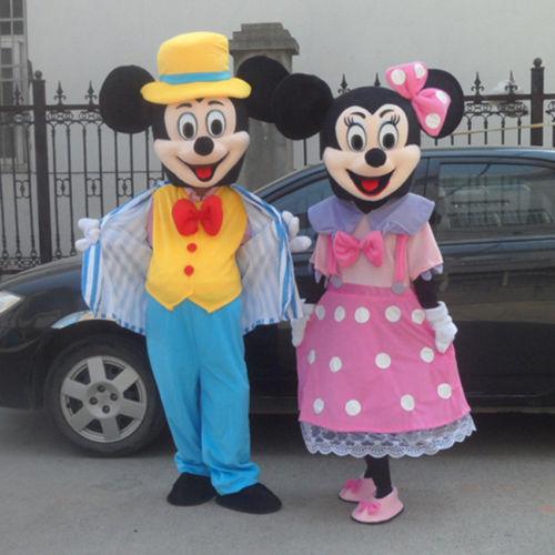 2018 couples souris rose & bleu Mascotte costume Della Mascotte Formato Adulto déguisement di Halloween Cosplay fête d'anniversaire
