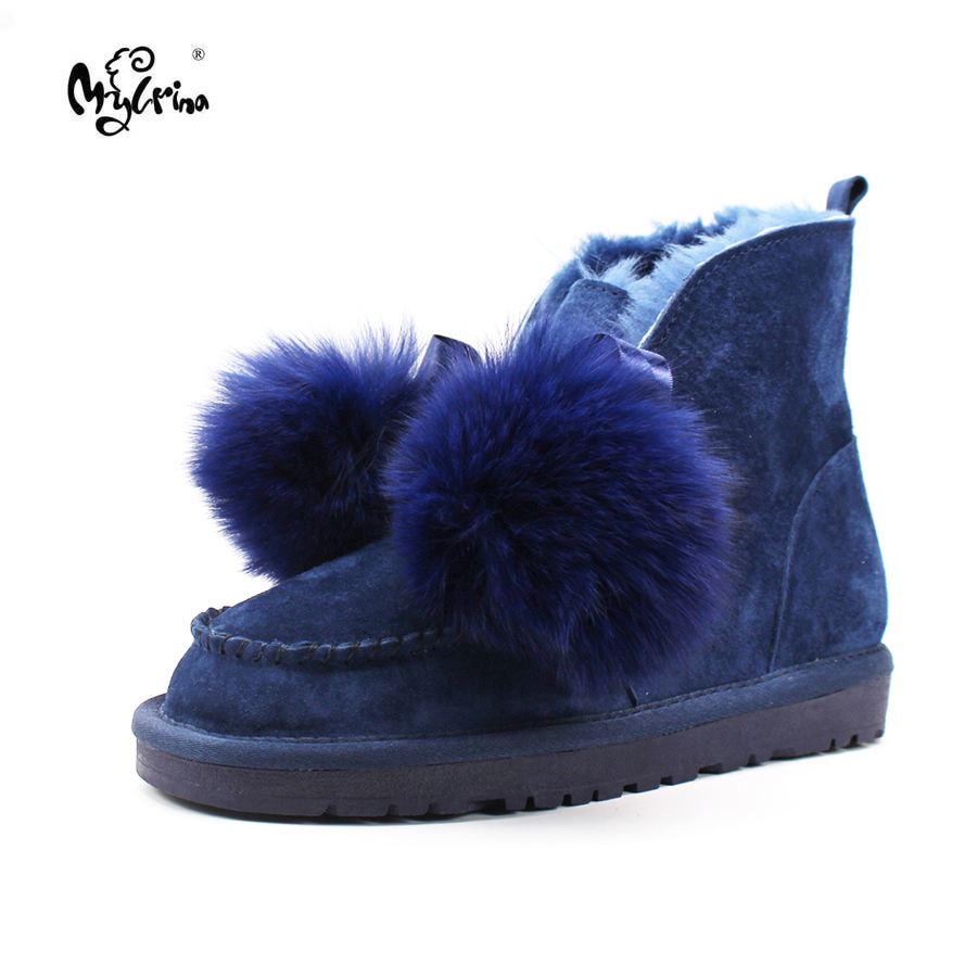 Top Quality 2017 New Fashion Genuine Leather Snow boots Real Wool Mujer Botas Natural Fur Non-slip Winter Ankle Shoes For Women top quality 2018 new fashion 100% genuine sheepskin leather snow boots natural fur mujer botas warm wool non slip winter shoes