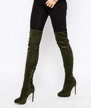 New designer custom slim fit thigh high women suede leather long boots slipon pointed toe high heel boots celebrities party shoe