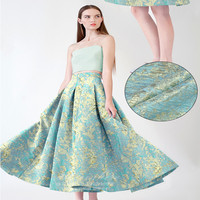 SASKIA 1Meter Brocade Jacquard Fabric 55 Gold Ribbon Polyester Material Sewing Dress Clothes Coats Patchwork Diy Blue Fabrics