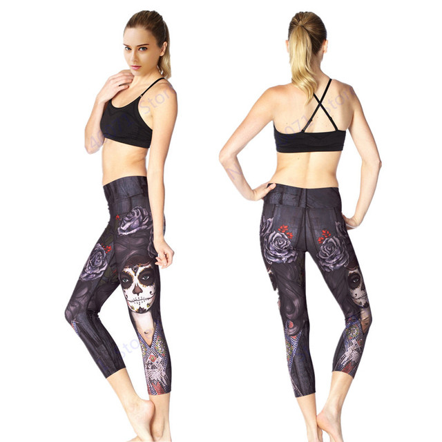 3436107e6f3c9 Black Rose Witch Power Flex Capris Elastic High Waist Running Skinny Tights  Sexy Slim Fitness Gym Yoga Leggings Womens Quick Dry