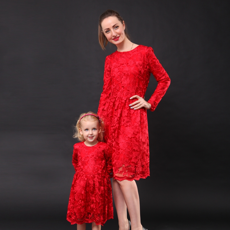 Autumn floral embroidery lace dress family look clothes girl kids fashion party dress matching mother and daughter formal dress стоимость