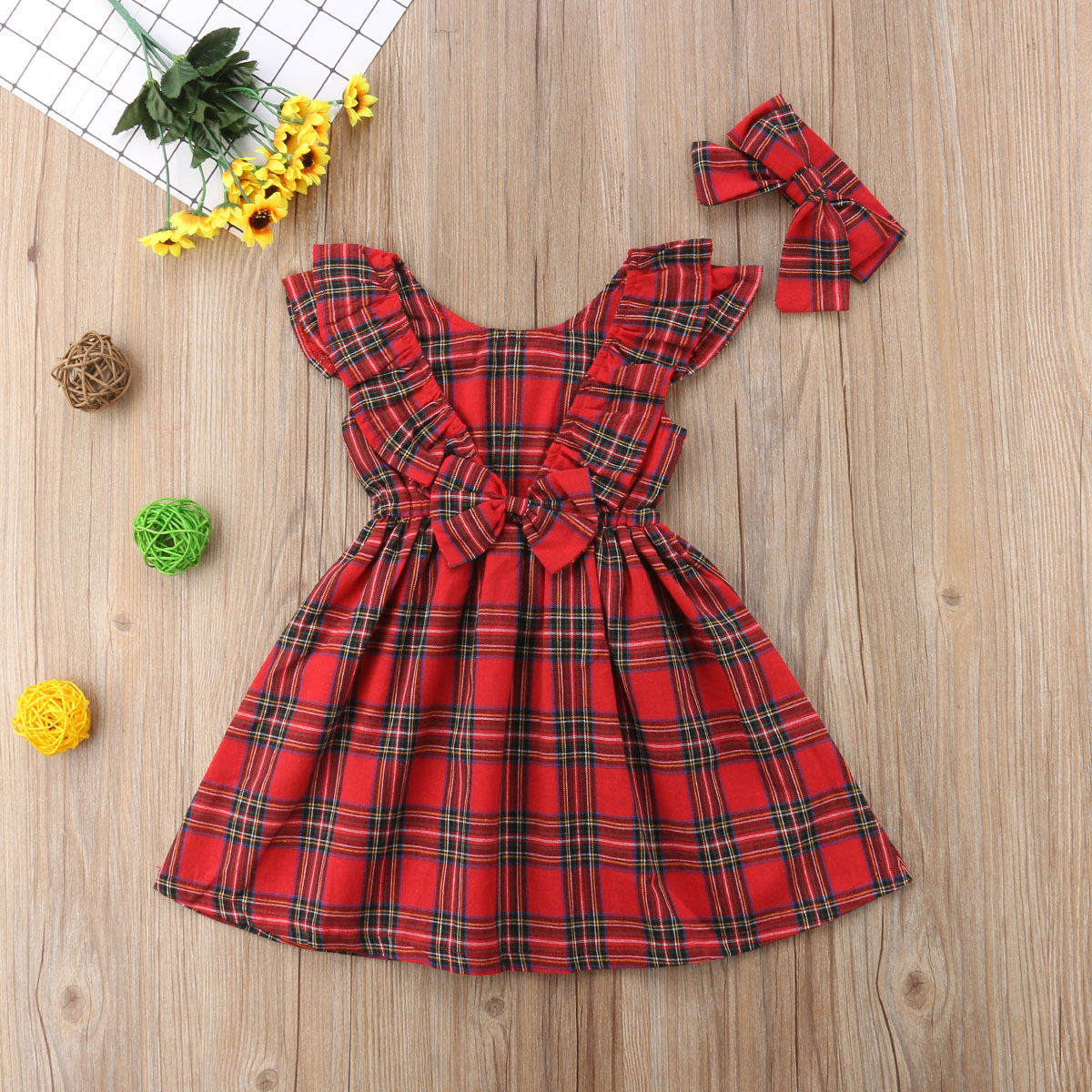 acfed1f25af0f Xmas Cute Pretty Toddler Baby Girls Party Dress 1-6Y Long Sleeve Ruffles  Plaid Knee-Length A-Line Red Dress Autumn Clothes