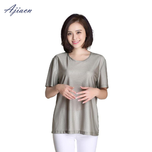 Image 4 - Genuine Electromagnetic radiation protection 100% silver fiber T shirt protect body health EMF shielding short sleeved shirt
