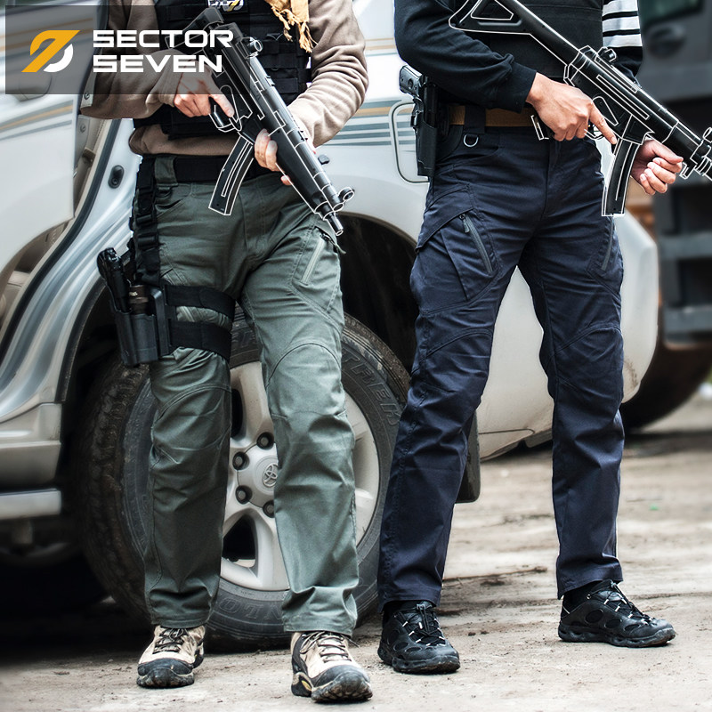 Sector Seven IX9 Lycra Tactical War Game Cargo Pants Mens Silm Casual Pants Mens Trousers Combat SWAT Army Military Active Pants