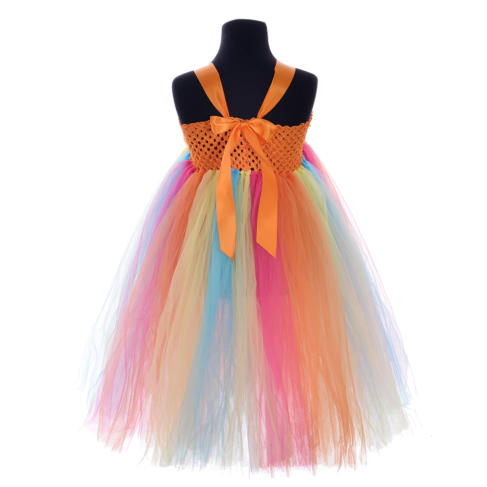 Living Coral Solid Unicorn Costume for Girls Party Dresses Age 10 12 Christmas Little Pony Clothes Ankle Length Sling Tutu Dress in Dresses from Mother Kids