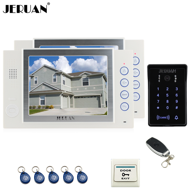 JERUAN 8`` video doorphone Recording intercom system 2 monitor New RFID waterproof Touch Key password keypad camera 8G SD Card jeruan wired 7 touch key video doorphone intercom system kit waterproof touch key password keypad camera 180kg magnetic lock