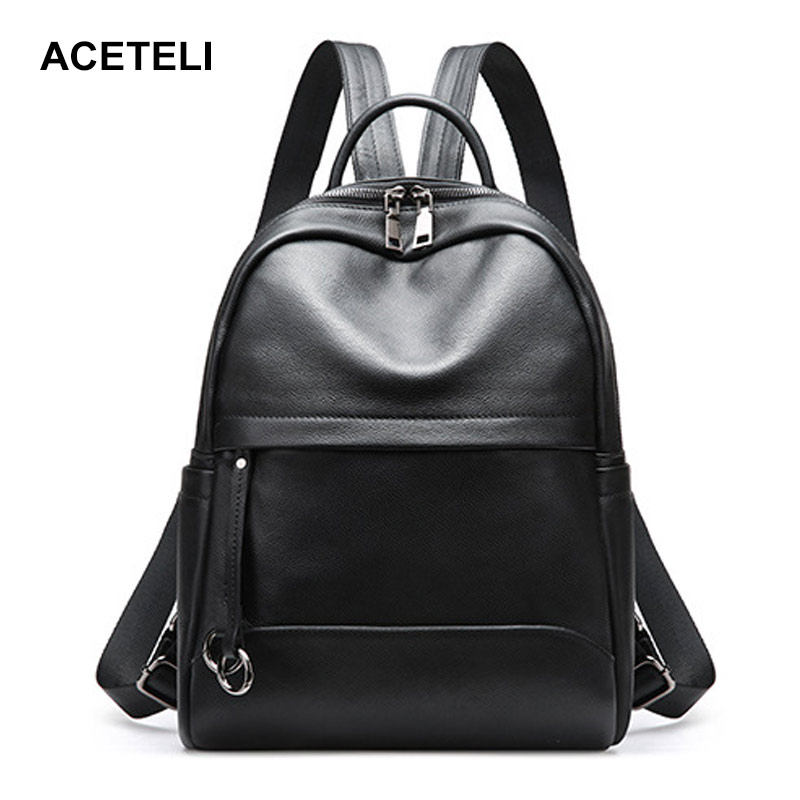ACETELI Genuine Leather Ladies backpack high quality shoulder bags backpacks for teenage girls Preppy Style Travel School Bag aequeen womens backpacks nylon backpack shoulder bags fashion ladies small ruck school for girls travelling shopping bag