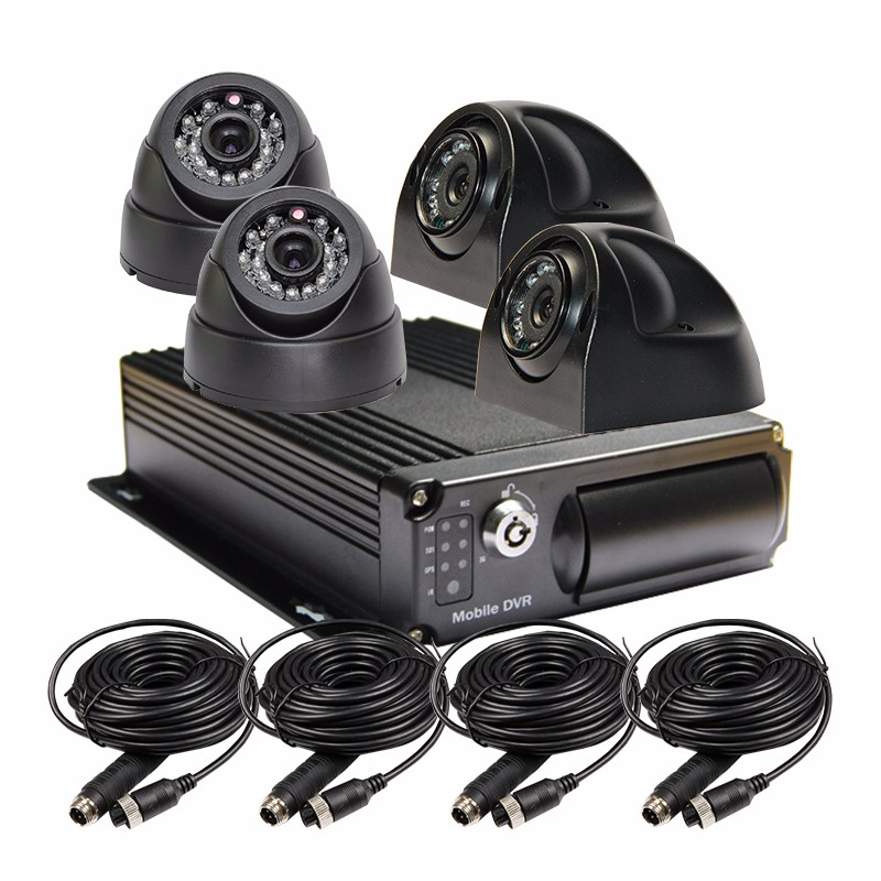 Free Shipping 4CH Car Side Dome Camera Vehicle Mobile DVR Kit H.264 Video Recorder with I/O G-sensor for Duty Van Bus Truck Car