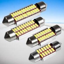 100 pièces 31mm 36mm 39mm 42mm C5W 12 16 20 24 SMD 4014 LED CANBUS aucune erreur voiture Festoon dôme lumière Auto intérieur lampe blanc 12V 100X