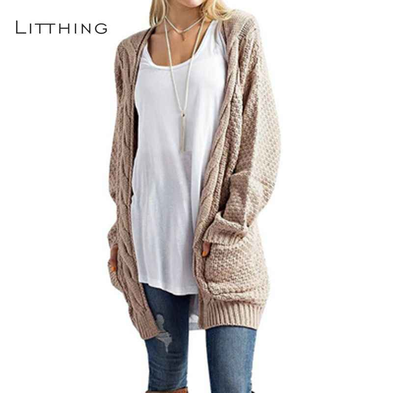 LITTHING Long Cardigan Women Long Sleeve Knitted Twist Sweater Cardigan  Autumn Winter Womens Sweaters 2018 Jersey b00a51140f47