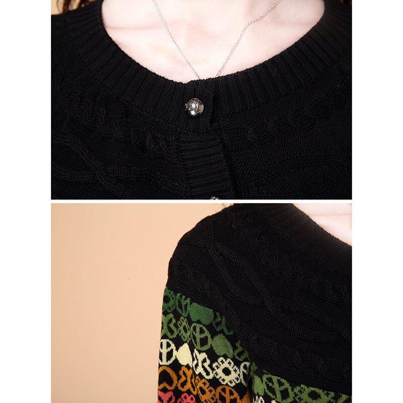 Courte Lâche Cardigan Femmes Bouton Rs124 Décontracté Mode Printemps Automne Bureau Dame Veste Shown Manteau Broderie As Tricoté Pull xxSqABU