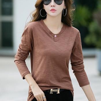 Vetement Femme 2019 Autumn Long Sleeve Office Shirt Women T-Shirt Bamboo Cotton White Tshirt Tee Top Camiseta Feminina Plus Size