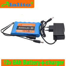 Alalito Draagbare Super 18650 Oplaadbare Lithium Ion batterij capaciteit DC 12 V 8000 Mah CCTV Cam Monitor + 12.6 V EU UScharger(China)