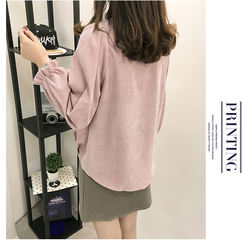 2018 Autumn Winter Long Sleeve Corduroy Petal Sleeve Shirt New Slimming Thickening Keep Warm Lace Up Shirts Ribbons Bow Blouses