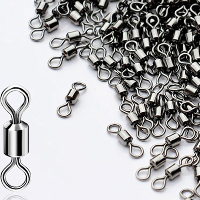 10 50pcs Heavy Duty Ball Bearing Barrel Fishing Rolling Swivel Stainless Steel Connector Solid Ring Fishing Tackle in Fishhooks from Sports Entertainment