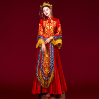 High Quality Traditional Chinese Wedding Dress Embroidery Tassel Cheongsam Qipao Dresses Retro Dressing Gown Bride Traditions