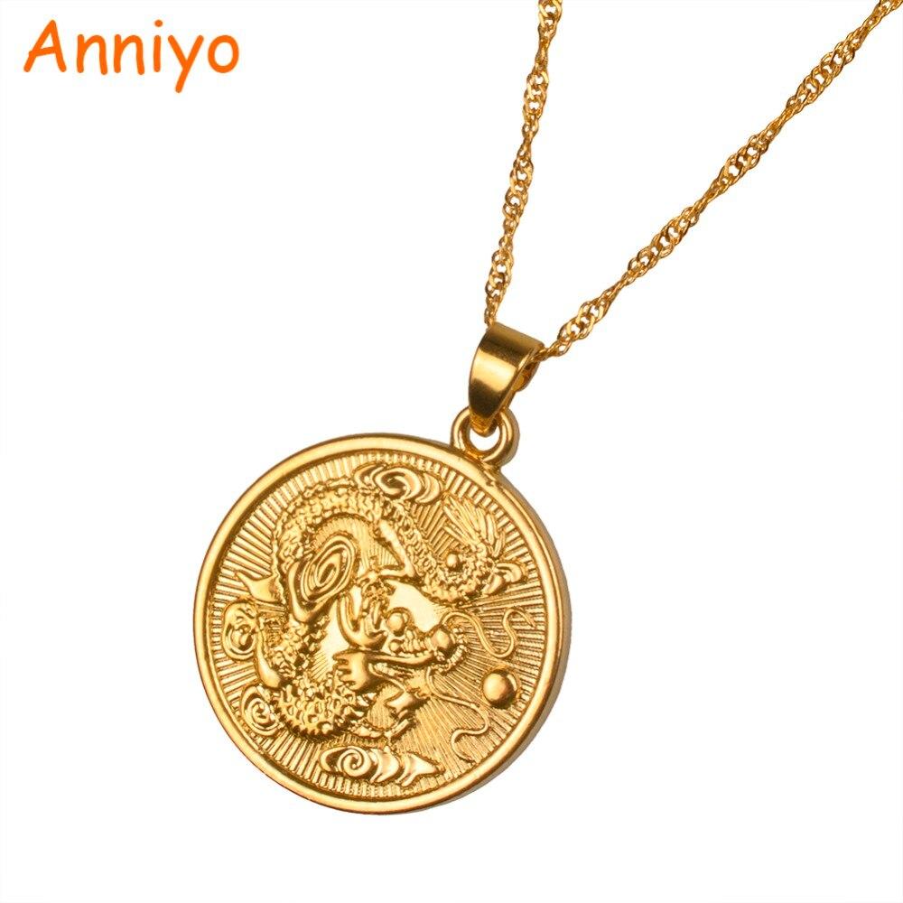 Anniyo благоприятный дракон кулон $ тонкой цепочке Золотой Цвет Jewelry талисман украшения Lucky подарки #005825 ...