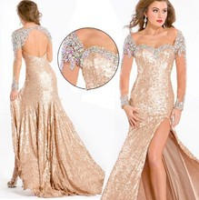 2015 New Sexy Sweetheart Sequined High Quality Beaded Crystal Long Sleeve Floor-Length Mermaid Evening Dress Dresses Gowns