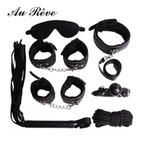 7 pcs BDSM Kit Sex Bondage Restraints with Handcuffs Leg Cuffs PU Leather Whip Blindfold Slave Collar Mouth Gag Rope For Couple