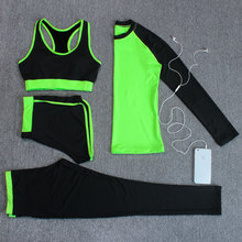 4 in 1 Sport Costumes for women Yoga Jogging suit Sports bra Long sleeve t shirt Running Sport Legging Pants Quick dry Yoga Set