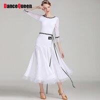 Comfort Latin Dance Dresses For Ladies White Green Sleeveless Skirts Economic Original Women Fitness Theatrical Stage