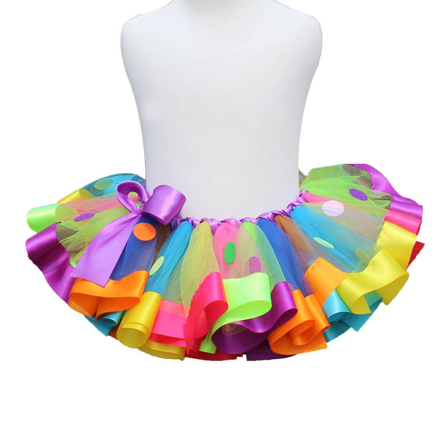 Bright Colorful Rainbow Ribbon Trimmed Tutu Toddler Girl Tulle Petit Skirt Infant Tutu All Size Newborn Baby – Child 1-12 Years