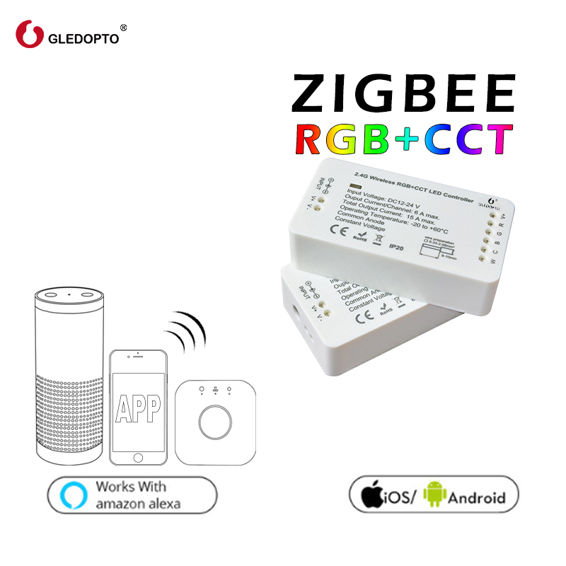 GLEDOPTO ZIGBEE controller zll link light RGB+CCT led controller dc12-24v smart app control work Compatible with zigbee 3.0 zigbee zll link smart strip light rgb rgbw controller dc12v 24v zigbee rgb app control compatible with led echo gledopto led rgb