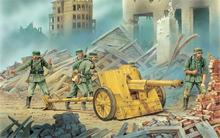 art city ruins calculation German antitank guns 75 cm PaK 97-38 on fire the position 4 Sizes Home Decoration Canvas Poster Print