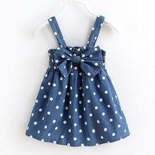 VORO BEVE 2017 Enfants Filles Denim Robe Dot Mode Sans Manches Bébé Denim Robe Pour Bébé Filles Enfants Nouveaux Jeans Vêtements