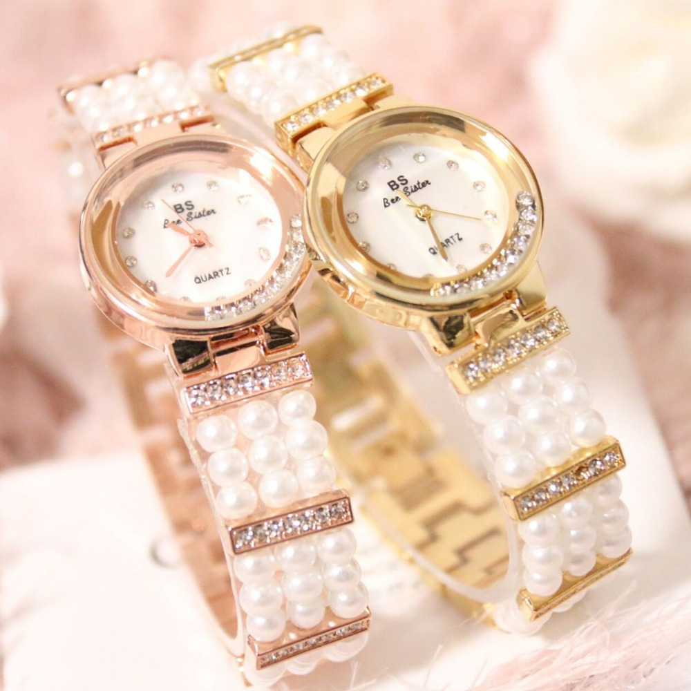 2016 New Arrival Luxury BS Brand Crystal Women Pearl Watch Lady Dress Watch Rhinestone Bangle Bracelet Valentine Gifts Free Ship spring big sale brand bs luxury 14k gold diamond women watch lady gold siliver dress watch rhinestone bangle bracelet