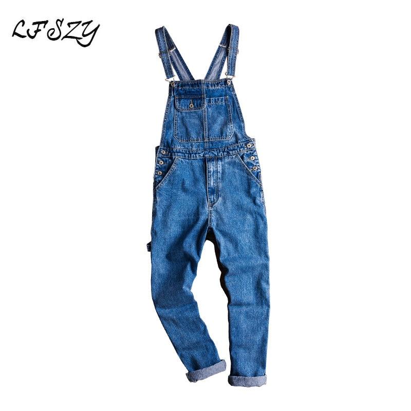 Jeans Men Lfszy Men's Casual Blue Denim Overalls, Loose Jeans, Overalls, Sling Overalls