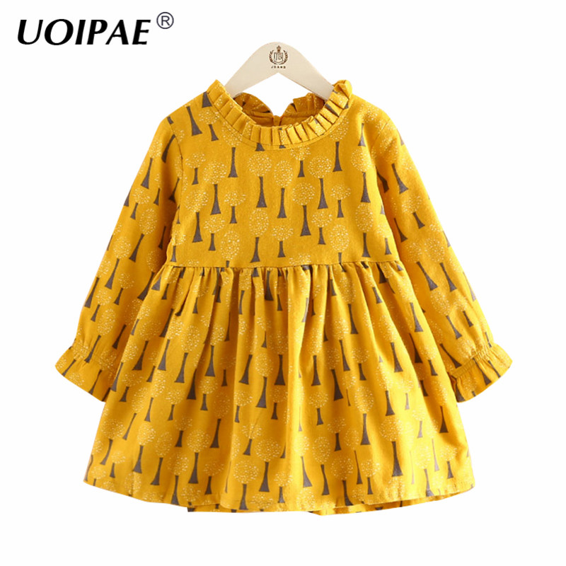 UOIPAE Girl Kids Dress Spring 2018 Fashion Pattern Printing Princess Dress Kids Long Sleeve Simple Girls Clothes B0931 uoipae party dress girls 2018 autumn