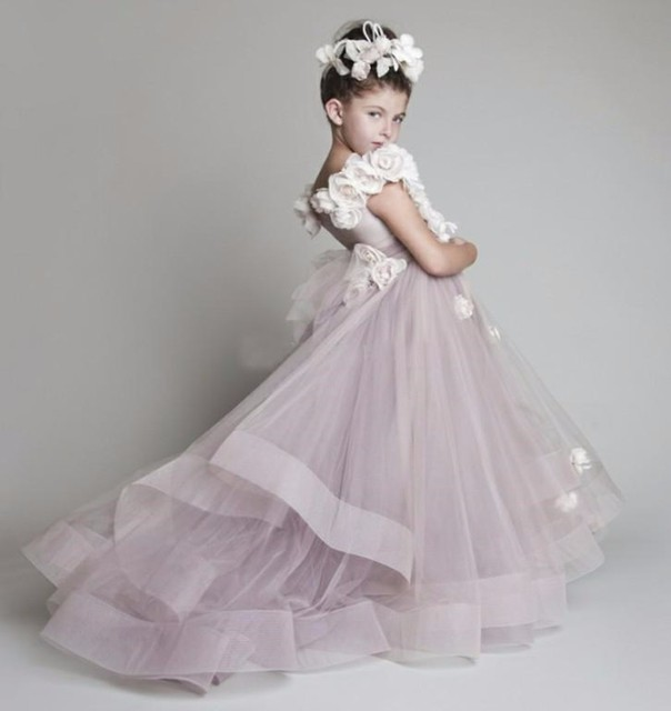dedf7437a 2017 new lovely flexible pipe folding manual flower girl dress girl sweep  train TY98 pageant dresses