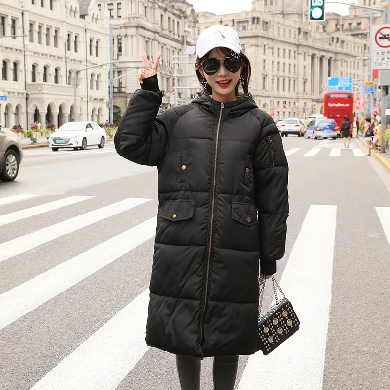 Surdimensionné 2018 Veste Capuche Plus Taille Automne Chaud Avec Grande Coat Dames Femelle Long Survêtement Hiver Parka Femmes 17 Puffer Black Top Z68nS6wzqE