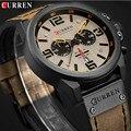 Мужские кварцевые часы CURREN  армейские часы с кожаным ремешком  спортивные часы 2019