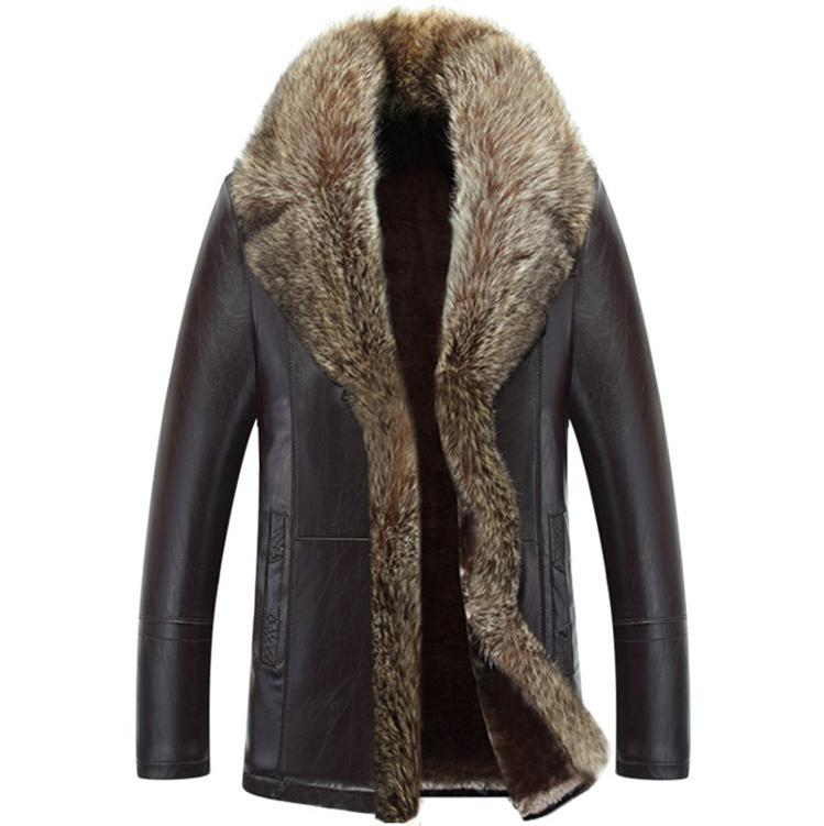Hot Sales + Velvet Standing Collar Leather Clothing Male Autumn And Winter Wear A Fur Coat Warm Fur Coat Jackets Men Crime