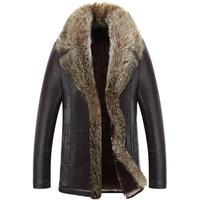 Hot Sales + Velvet Standing Collar Leather Clothing Male Autumn And Winter Wear A Fur Coat Warm Fur Coat Jackets Men Crime