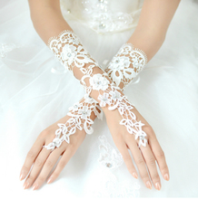 Sexy White Lace Wedding Gloves Fingerless Women Bridal Party Accessories Beaded One Size Elbow Length 2018 New Arrival